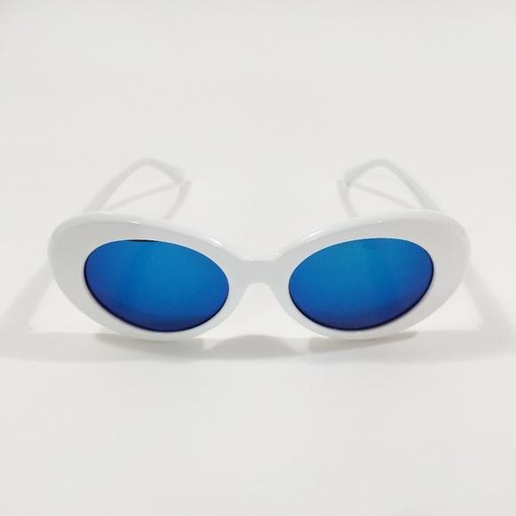 Accessories - Retro Kurt Cobain White Blue Round Sunglasses